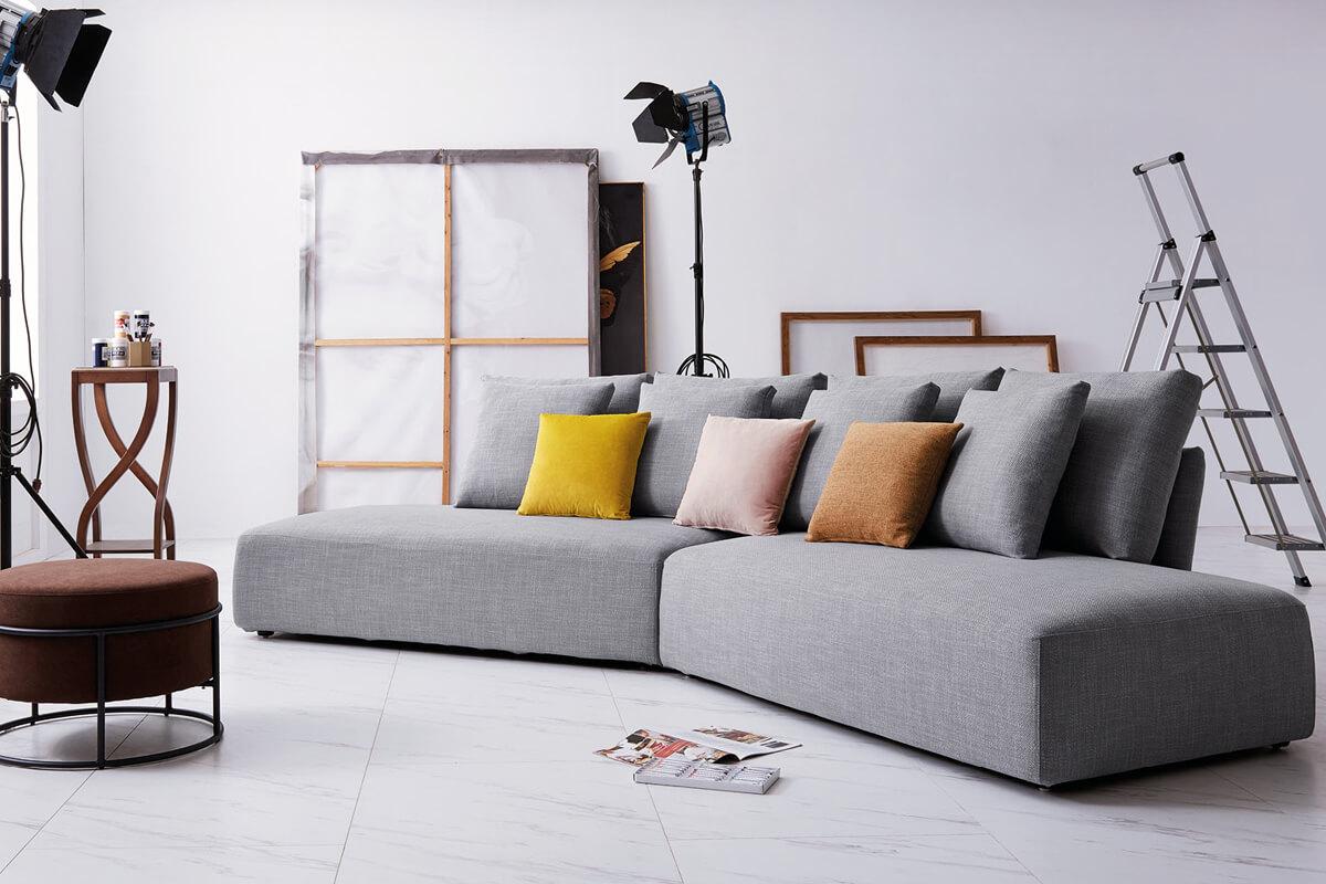curved fabric sofa