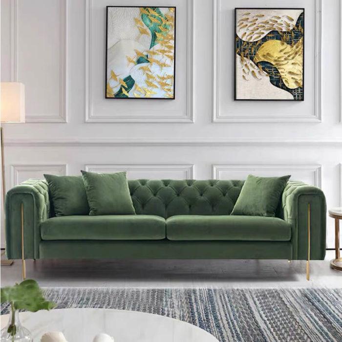 green velvet fabric sofa