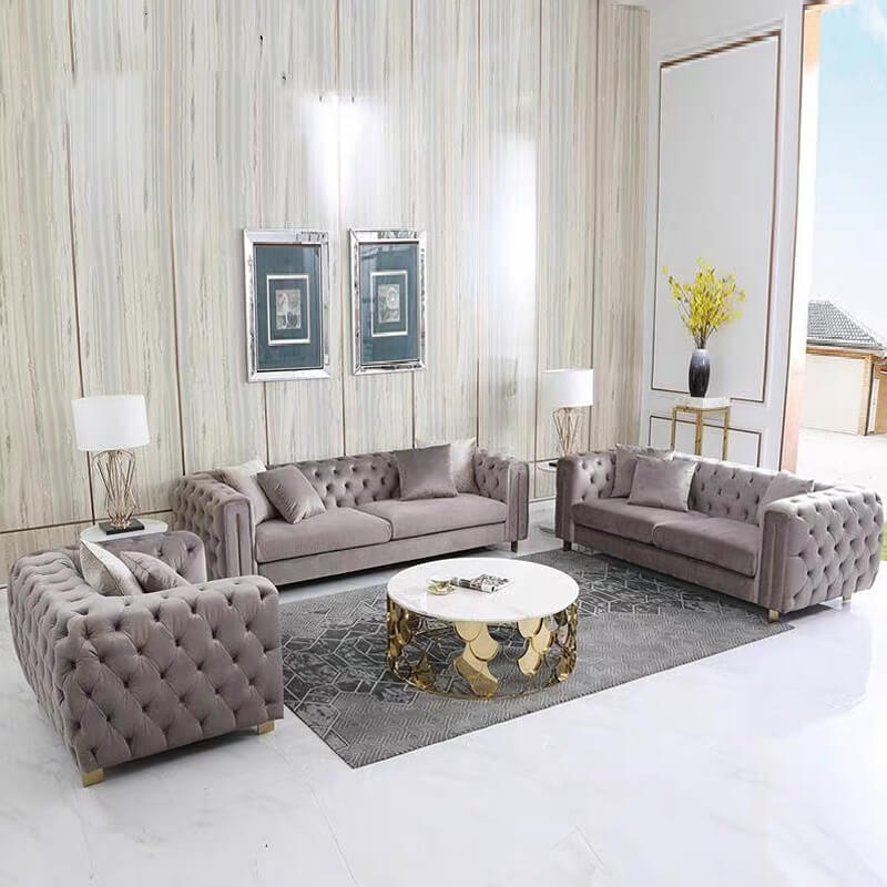 grey fabric chesterfield sofa set