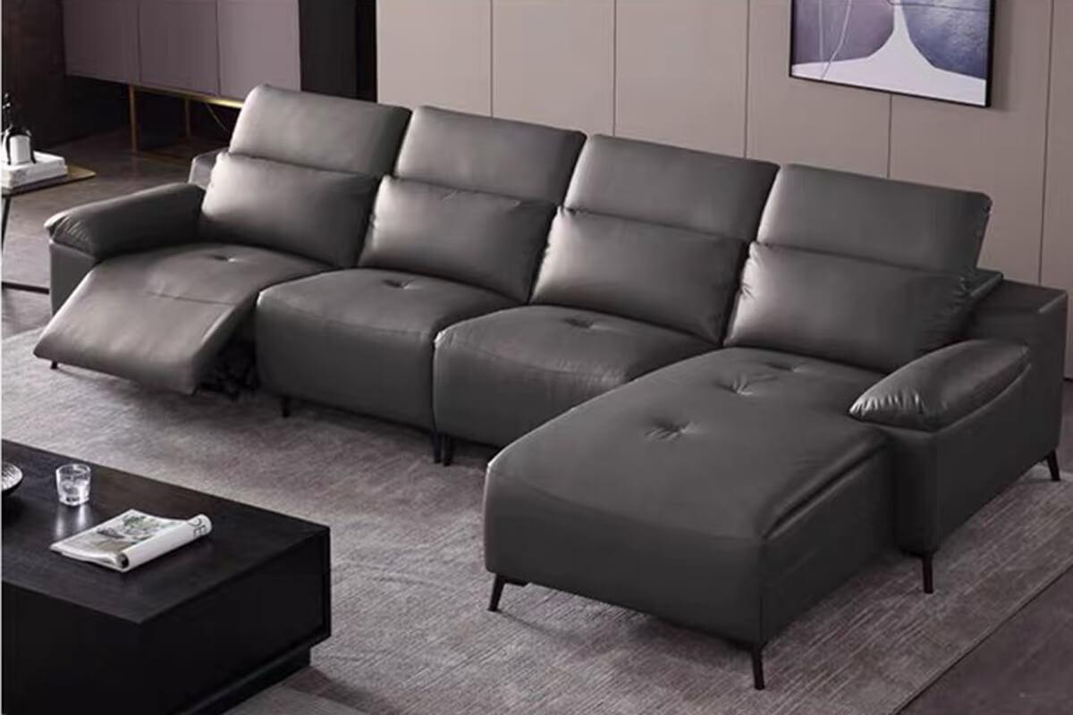 grey leather corner recliner