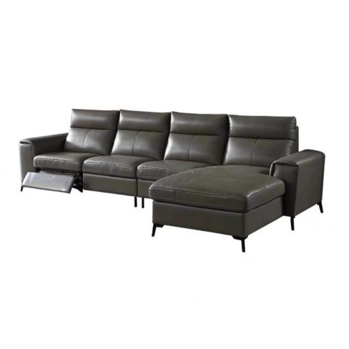 Leather reclining sectional with chaise