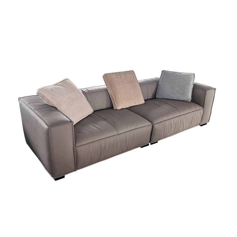 Distressed grey real leather sofa