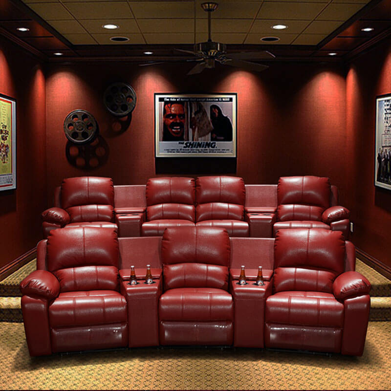 modern home cinema seating with center console