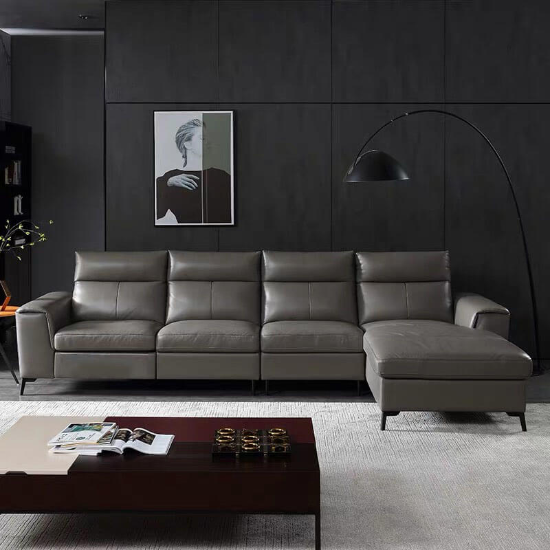 grey leather corner recliner sofa