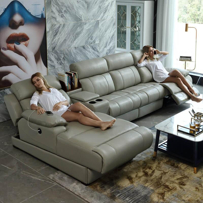 comfortable leather recliner corner sofa