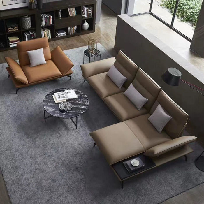 leather sectional sofa with armchair