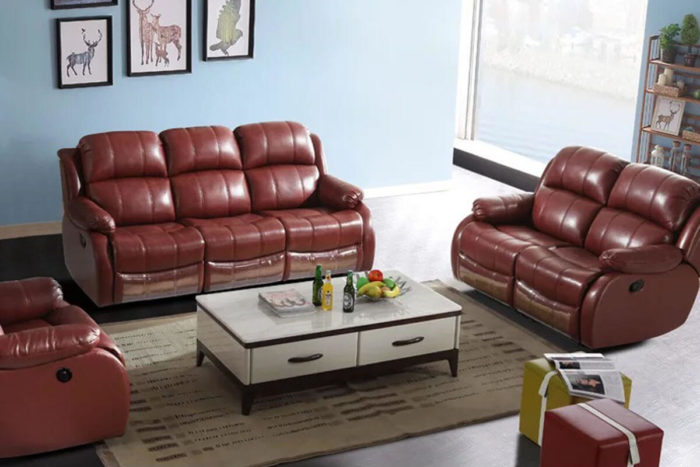 red leather manual recliner sofa set