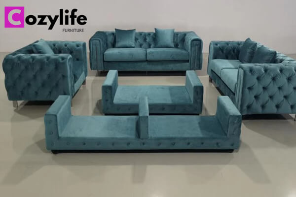 modern blue velvet chesterfield sofa