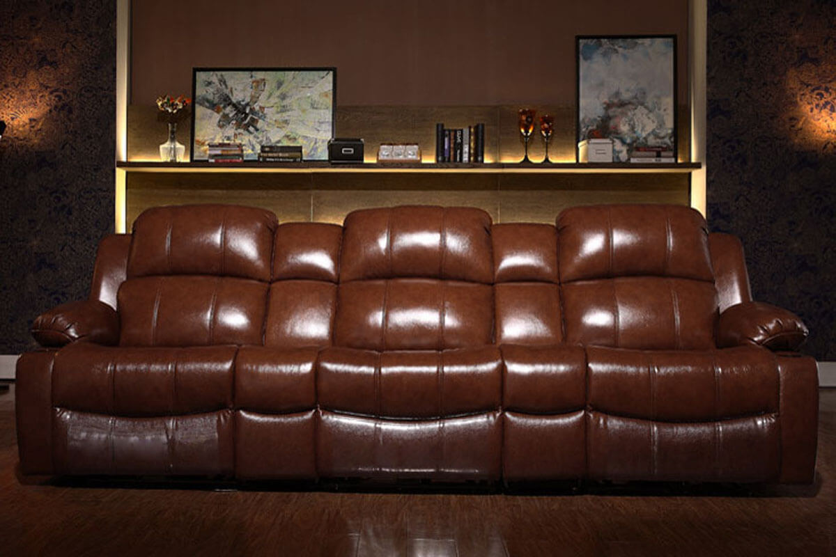 modern brown leather home theater chairs