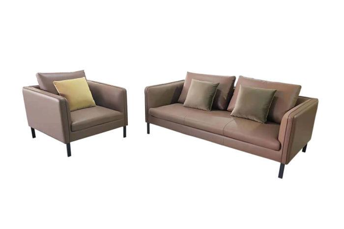 modern brown leather sofa set
