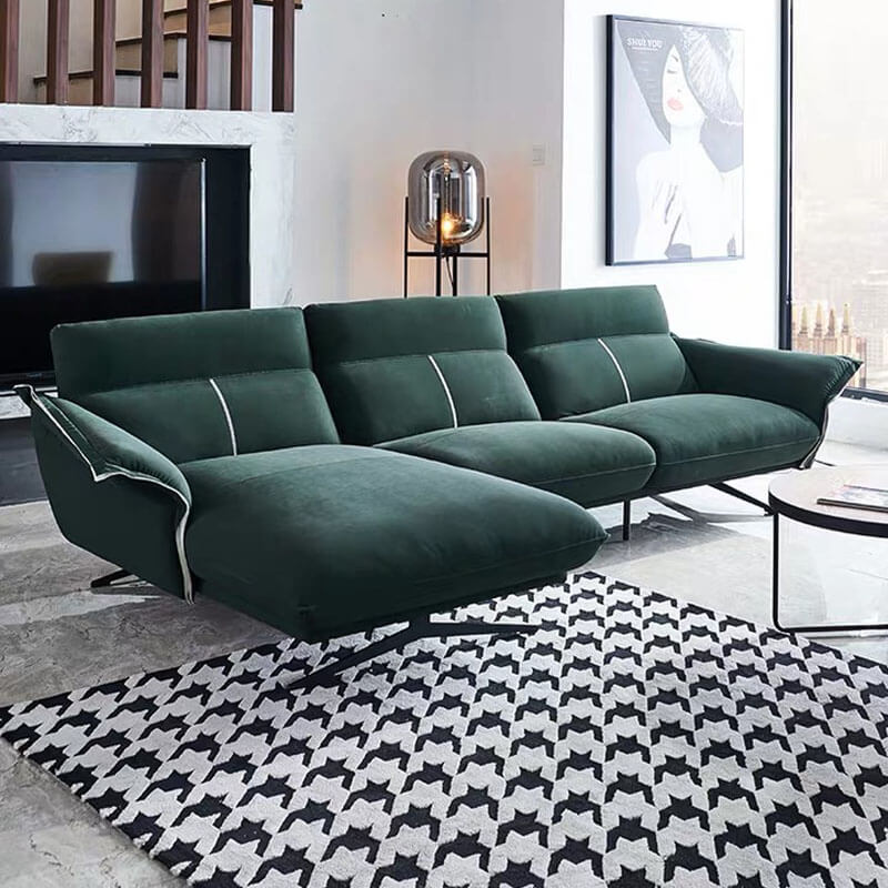 modern green fabric corner sofa
