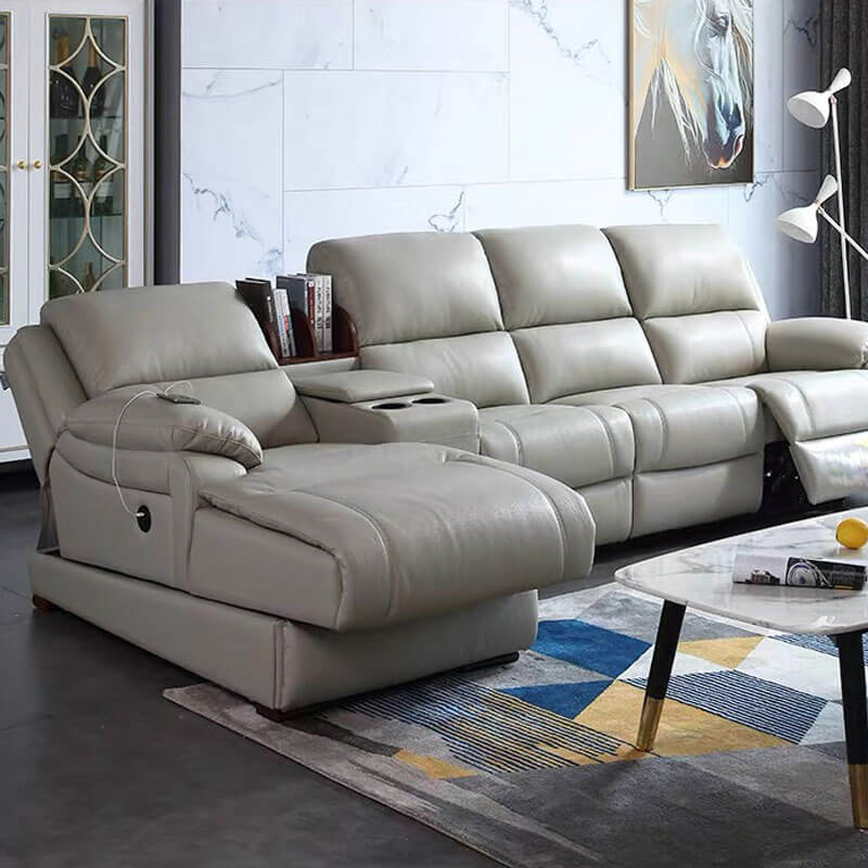 power reclining sectional with chaise and cup holder