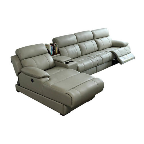 Grey leather corner recliner sofa