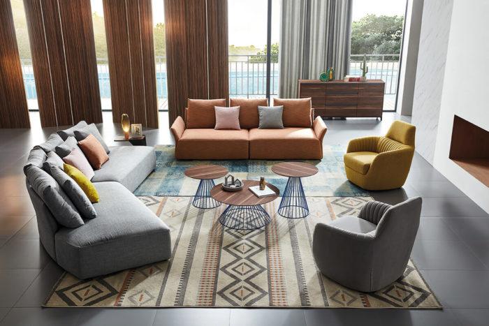 modern half circle fabric sofa with armchair