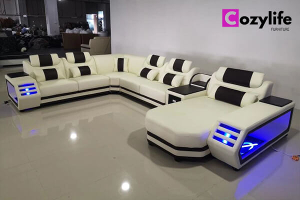 large modern modular U shaped sectional sofa