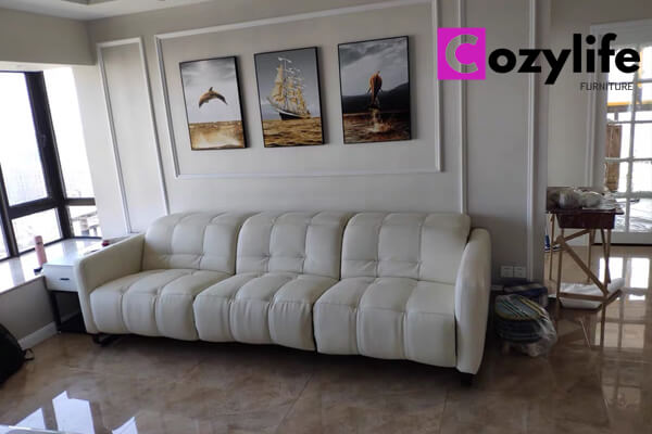 3 seater white leather power recliner sofa