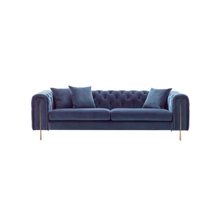 Navy blue velvet chesterfield sofa