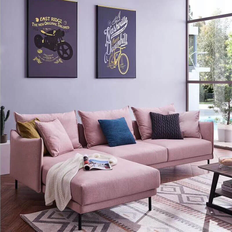 pink small corner sofa with chaise