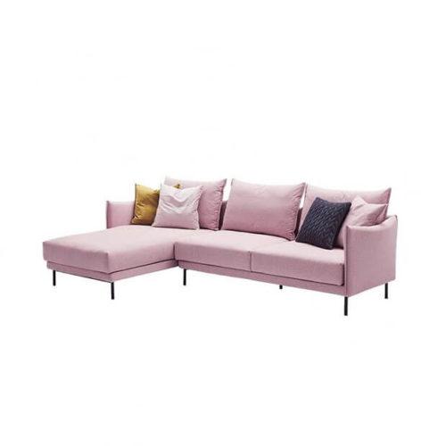 Pink l type corner sofa