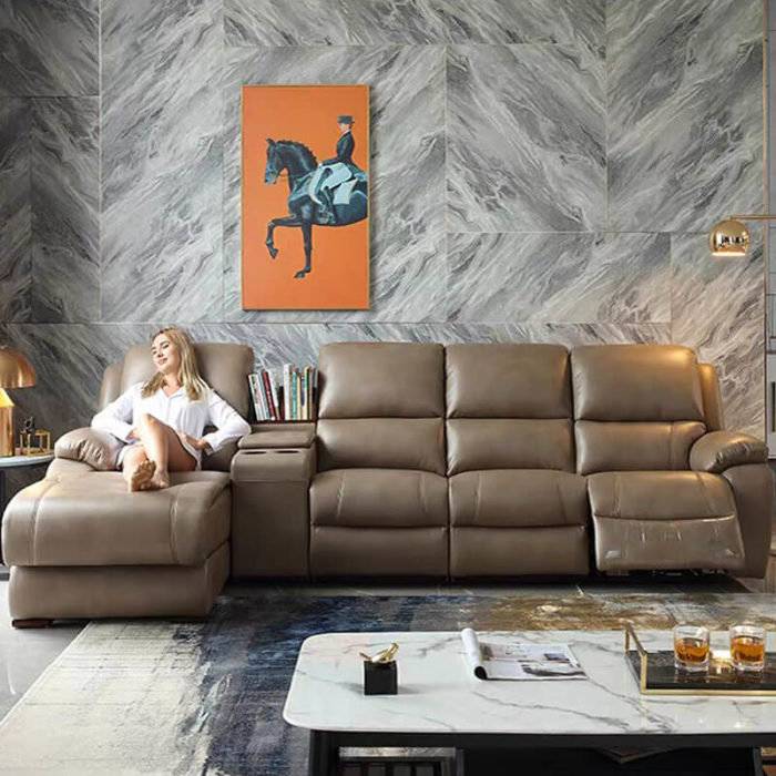 leather corner recliner couch