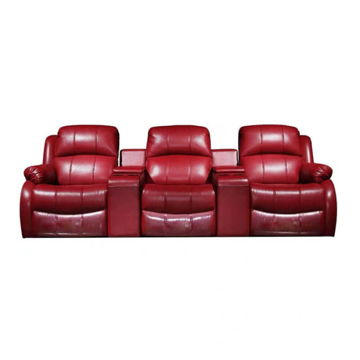 home theater seating recliner sofa in red leather