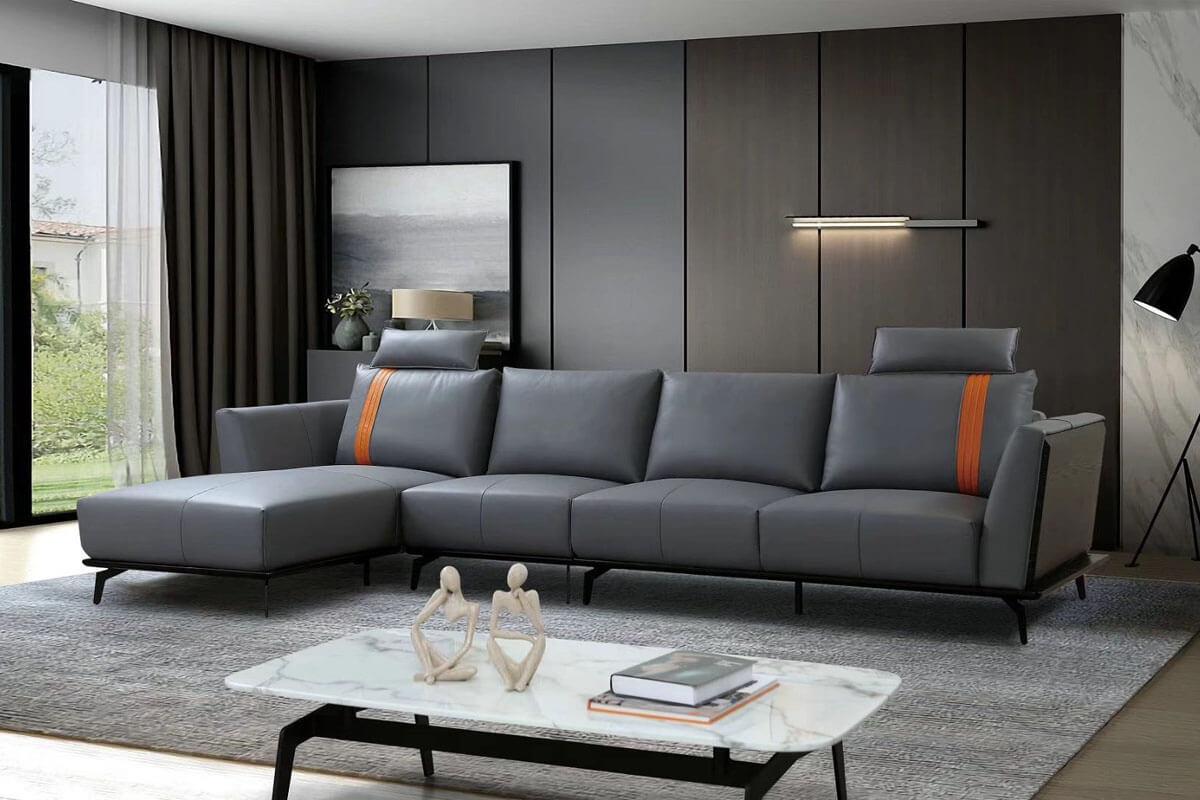 right hand grey leather corner sofa