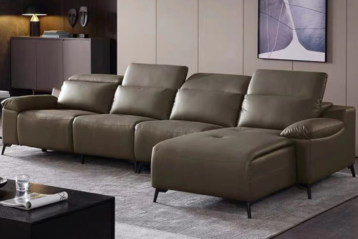 small l shaped grey leather recliner sofa