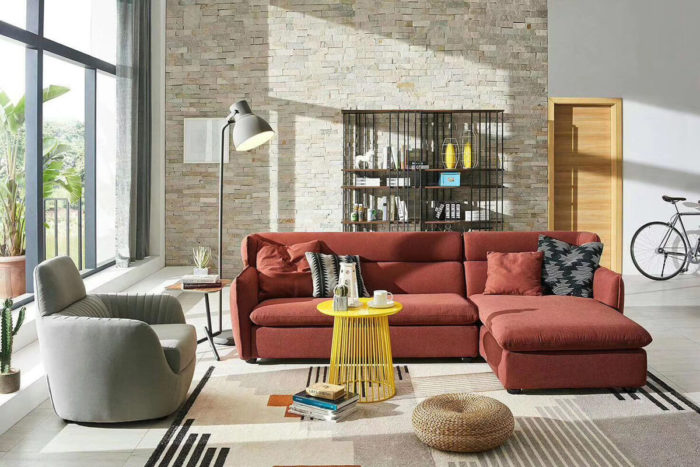 red fabric sofas for small spaces