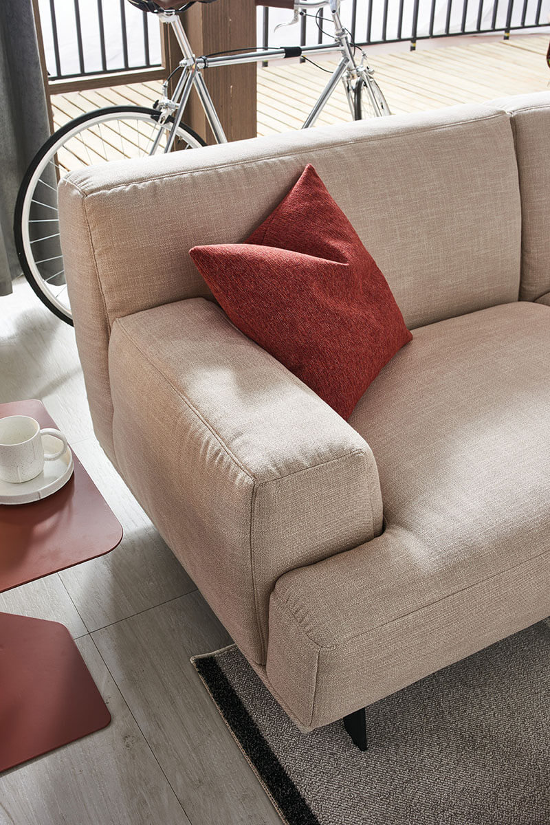 square fabric sofa arm