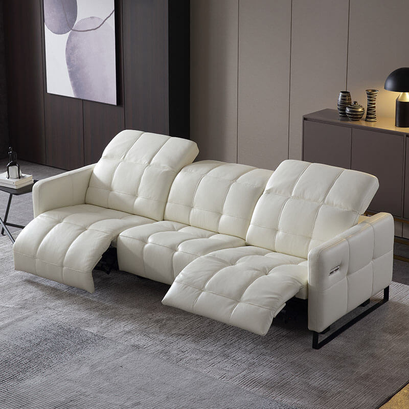3 seater white leather recliner sofa