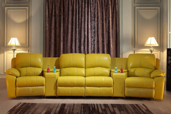 4 seater yellow motorized recliner for home theater