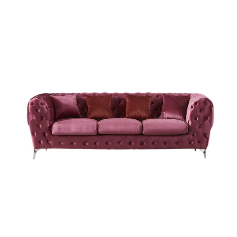 upholstered pink velvet chesterfield sofa