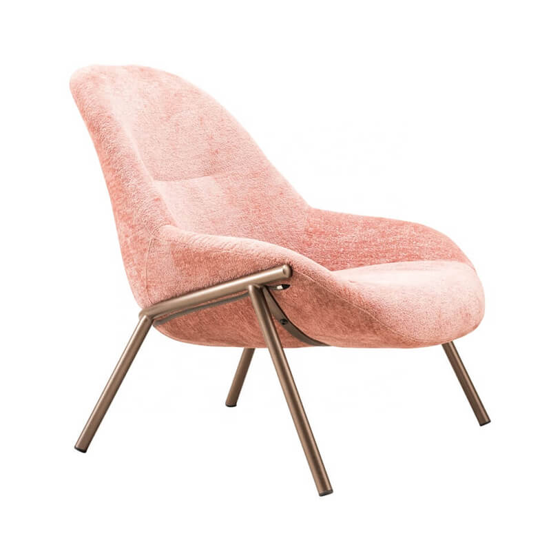 pink metal lounge chair