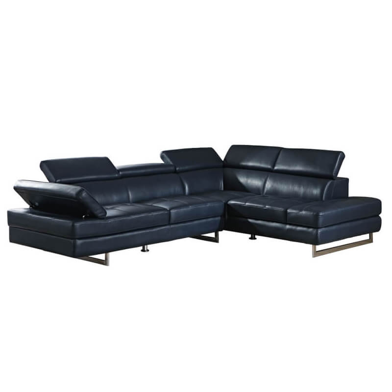 L-shaped black settee couch
