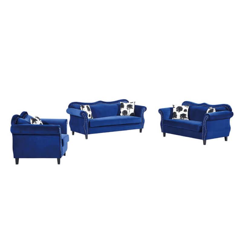 blue vintage fabric sofa