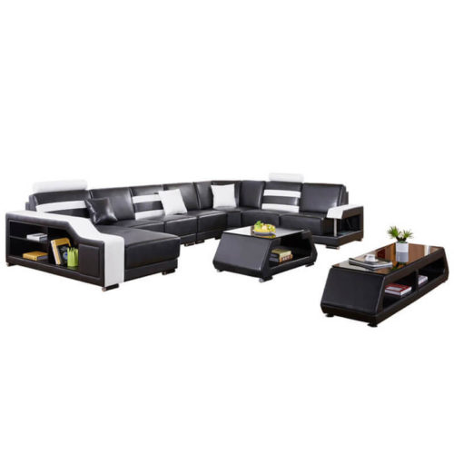 oversized u-shaped black sectional sofa